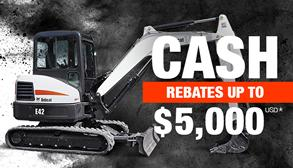 Bobcat E42 compact (mini) excavator promotion with rebates up to $5,000 USD.