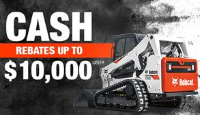 ALT Tag: Bobcat T650 compact track loader promotion with cash rebates up to $10,000 USD.