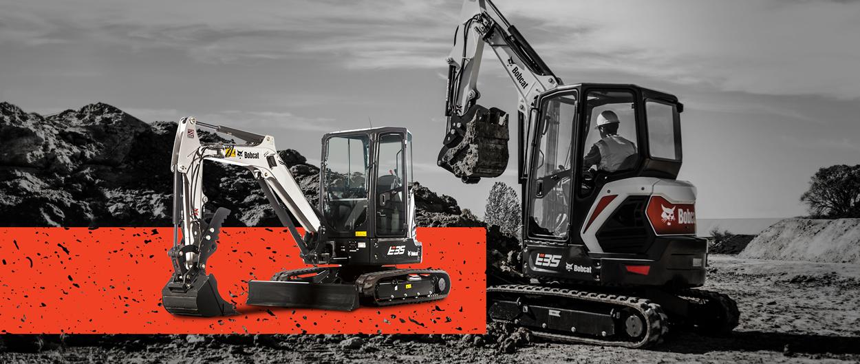 Bobcat E35 compact (mini) excavator  in a promotion with zero percent APR for 60 months or up to $5,000 USD in cash rebates.