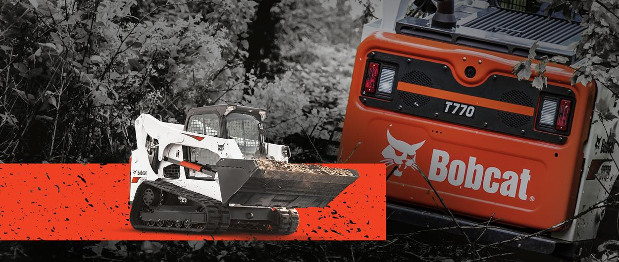 Bobcat T770 compact track loader in a promotion with zero percent APR for 60 months or up to $10,000 USD in cash rebates.