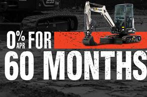 Bobcat E35 compact (mini) excavator promotion with zero percent APR for 60 months.