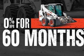 Bobcat S570 skid-steer loader promotion with zero percent APR for 60 months.