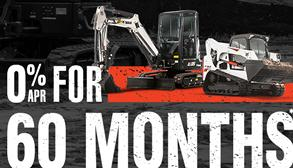 Bobcat E35 compact (mini) excavator and T770 compact track loader promotion with zero percent APR for 60 months.