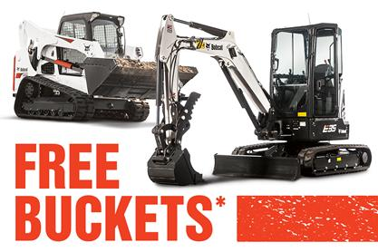 Bobcat E35 compact (mini) excavator and T770 compact track loader with free standard buckets.