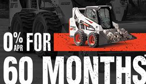 Bobcat S570 skid-steer loader with zero percent APR for 60 months.