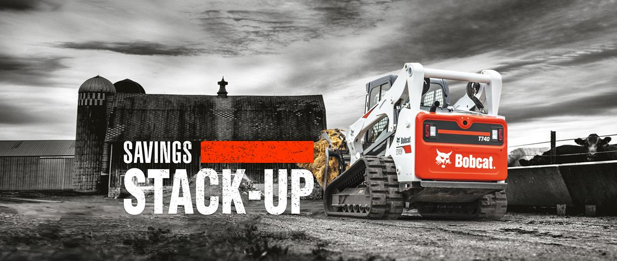 Bobcat T740 compact track loader on a farm.