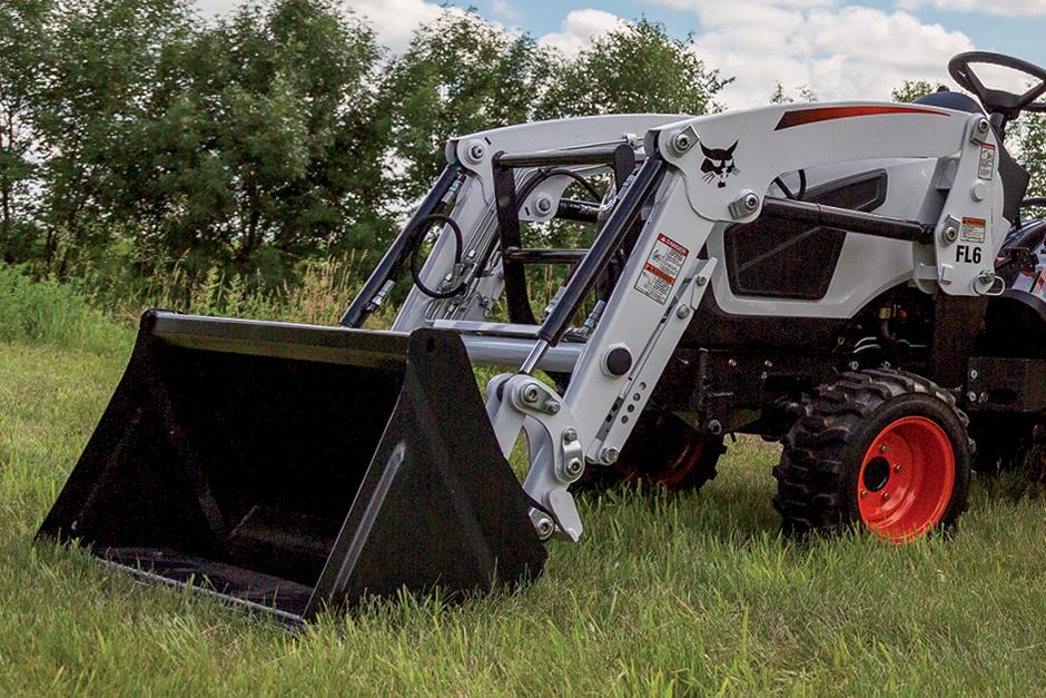 Front-End Loader On Bobcat Compact Tractor