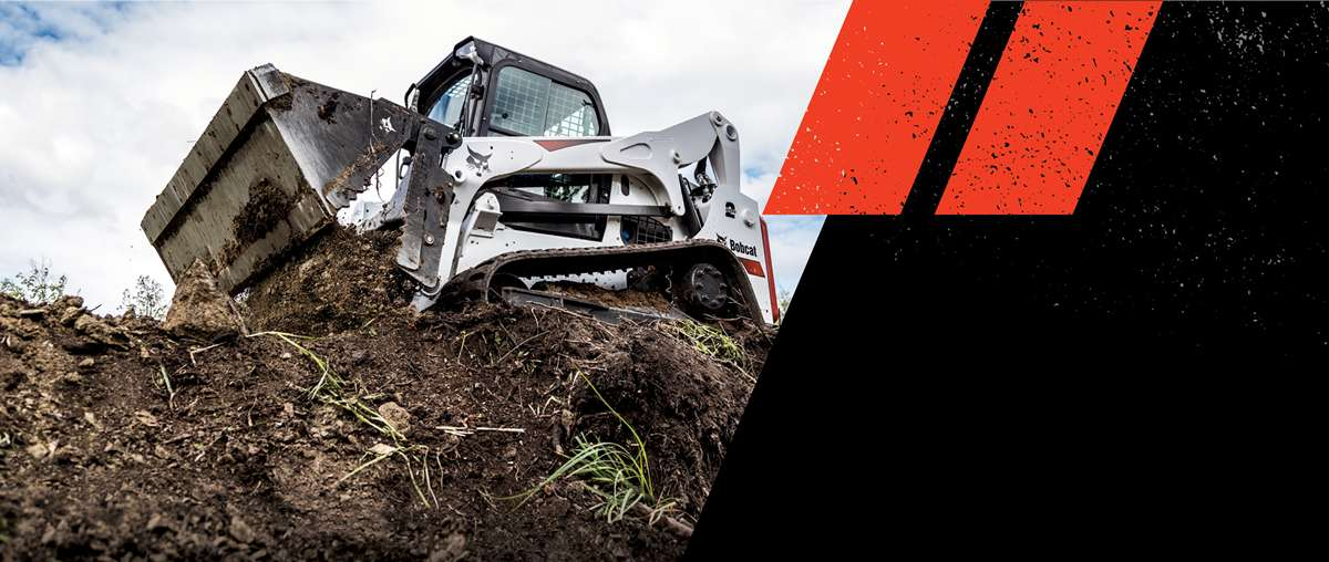 Graphic Featuring Bobcat T770 Compact Track Loader Dumping Dirt With Combination Bucket