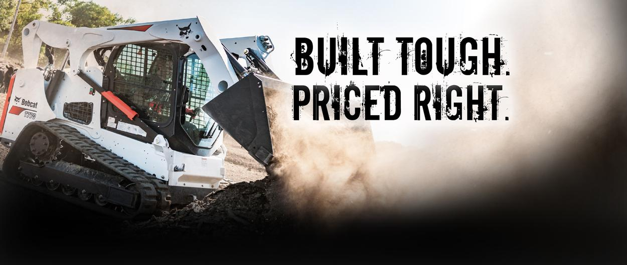 Bobcat T770 compact track loader and bucket attachment with built tough, priced right.