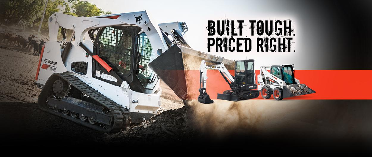 Bobcat limited-time offer that includes the T770 compact track loader, E32 compact (mini) excavator and S570 skid-steer loader.
