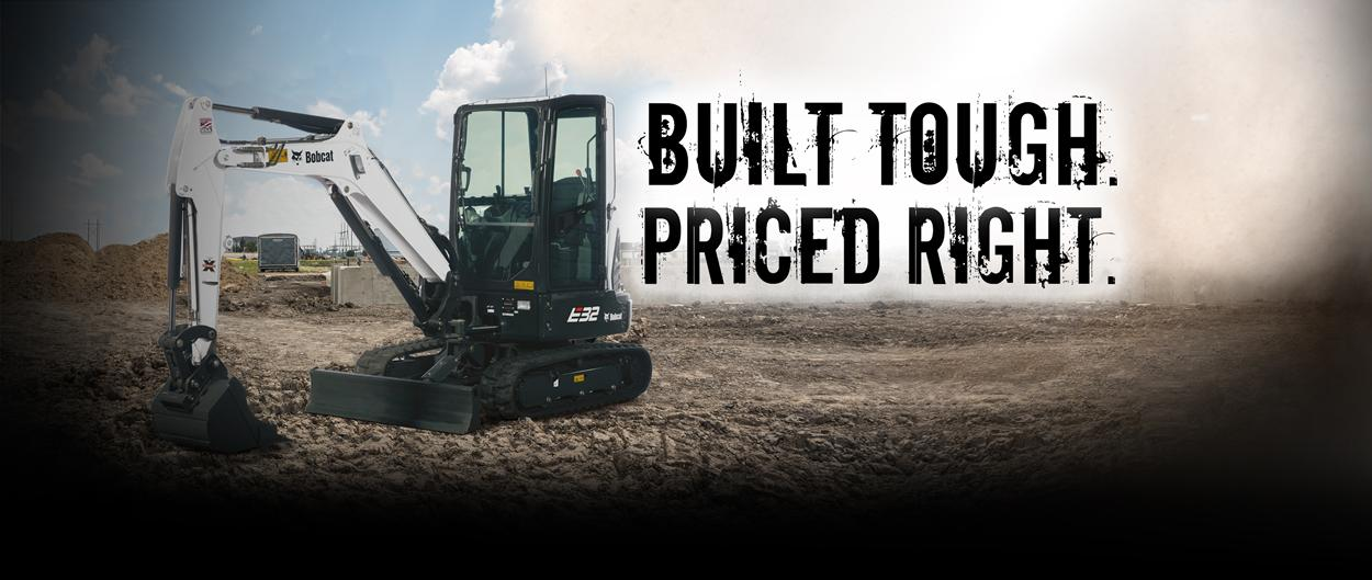 Bobcat E32 compact (mini) excavator and bucket attachment with built tough, priced right.