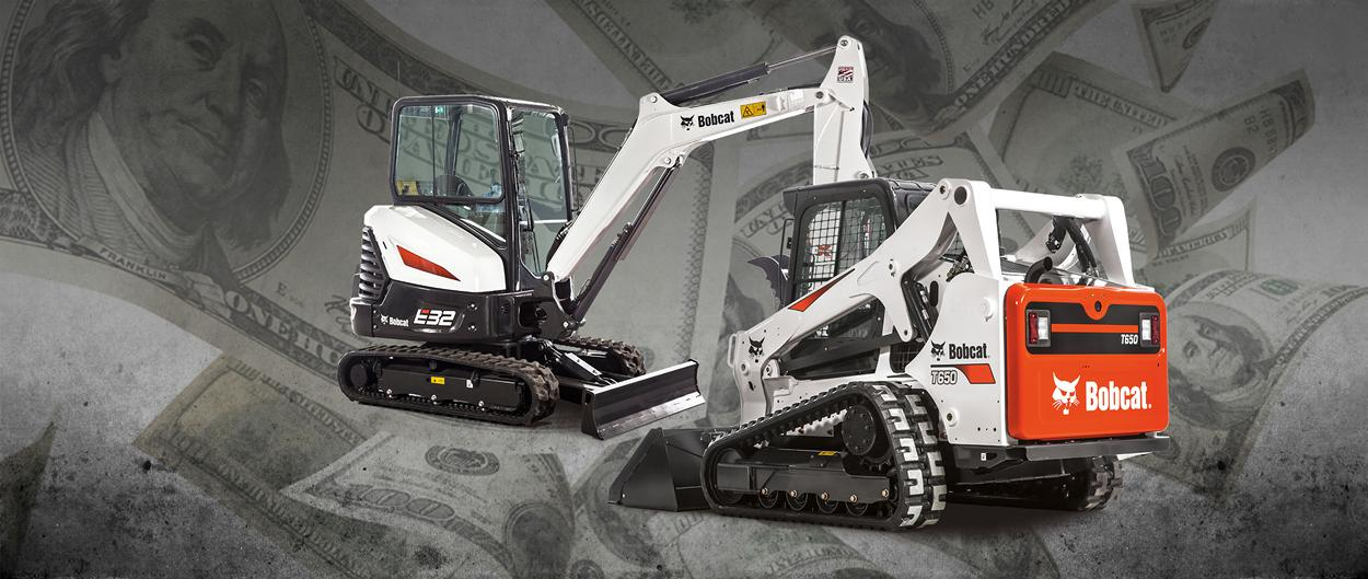 Bobcat T650 compact track loader and E32 compact (mini) excavator in a promotion for tax incentives.