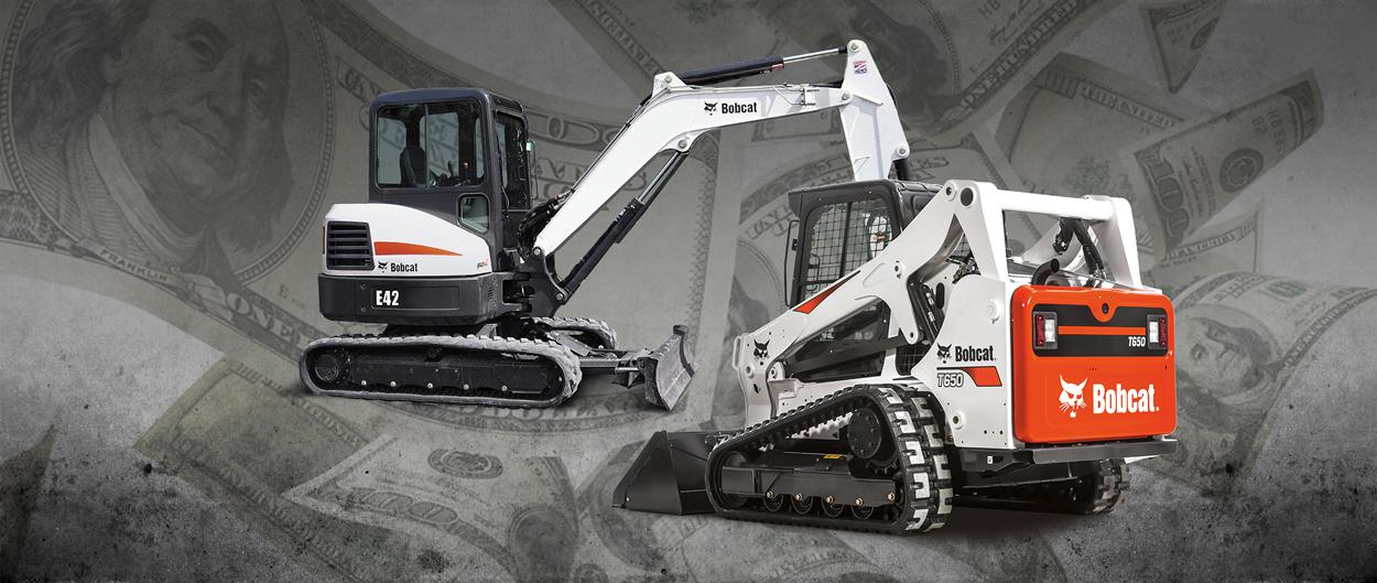 Bobcat T650 compact track loader and E42 compact (mini) excavator in a promotion for tax incentives.