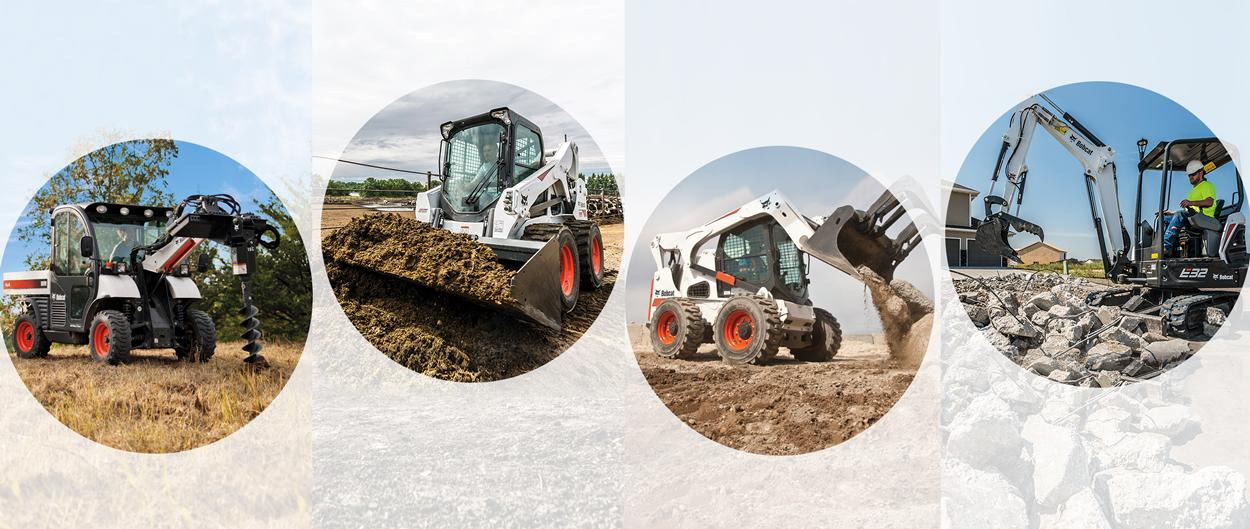 Bobcat machines with auger, bucket, and grapple attachments