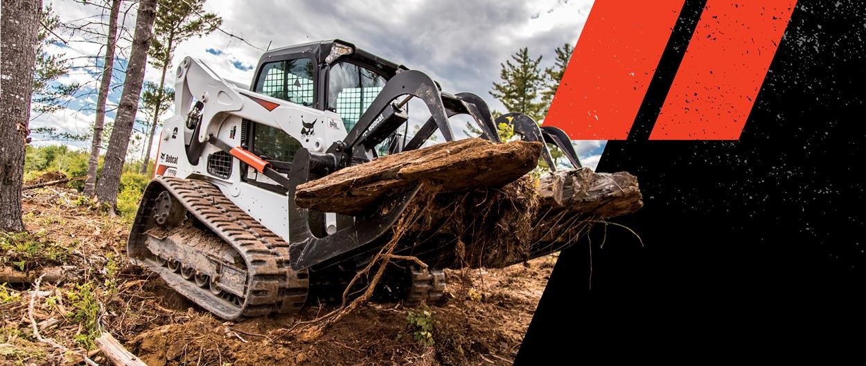 Bobcat T770 Compact Track Loader With Grapple Attachment Clears Wood On Forest Floor