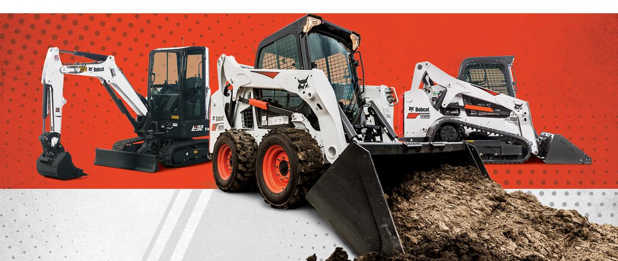 Bobcat E32 compact (mini) excavator, S590 skid-steer loader and T650 compact track loader in special offers promotion.