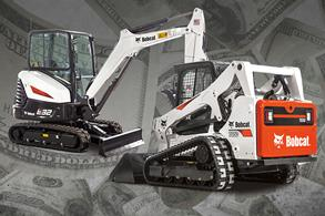 Bobcat E32 R-Series compact excavator and T650 compact track loader with a cash background.