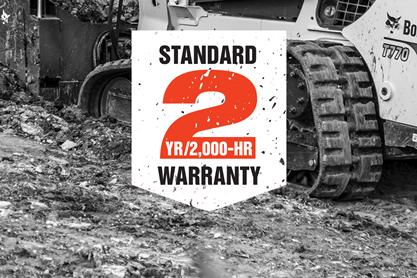 Standard 2-year / 2,000-vhour warranty on select Bobcat machines