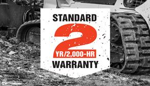 Bobcat Standard 2 year / 2,000 hour warranty promo badge.