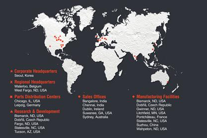 World map showing Bobcat Company locations.