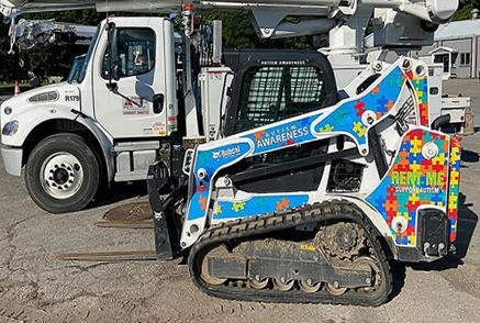 Bobcat Compact Track Loader With Custom Wrap Job For Autism Awareness