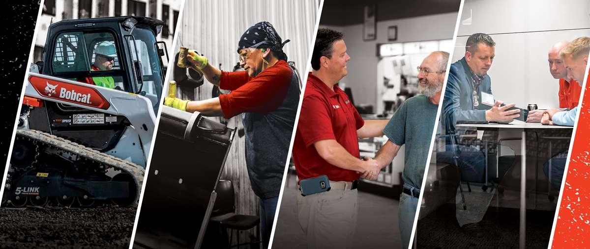 A Series Of Photos Of Bobcat Employees, Bobcat Equipment And Bobcat Dealers