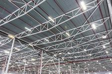 High-efficiency LED factory lighting.