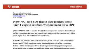 700 and 800 frame size loaders – Bobcat Company