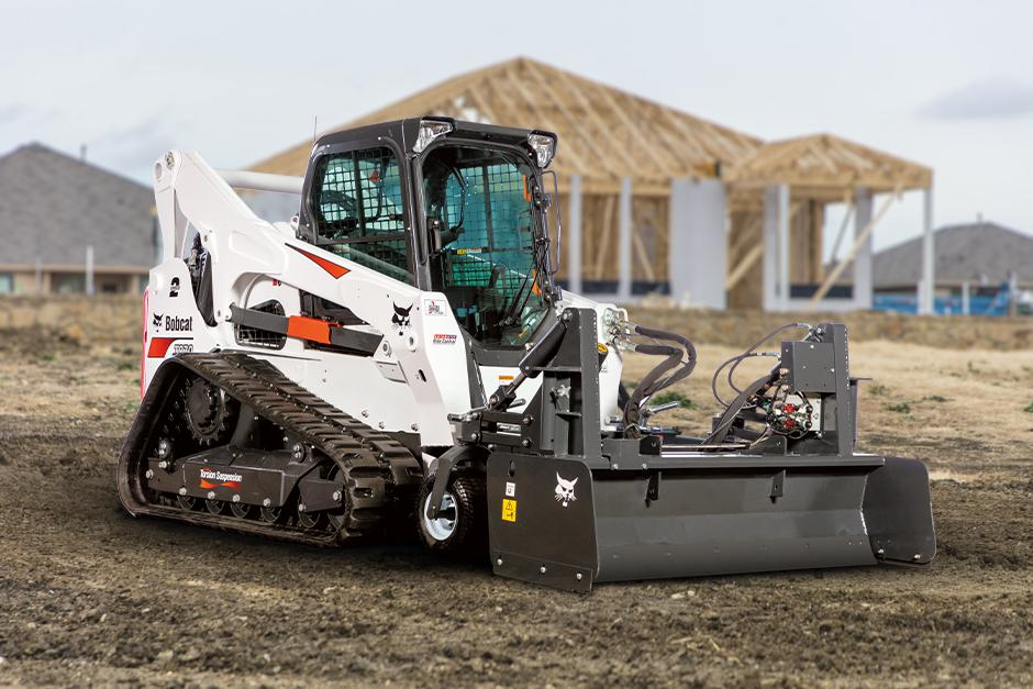 Bobcat Loader With HD Box Blade On Construction Site