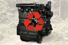 Bobcat remanufactured engine with an orange recycle symbol.