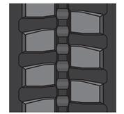 Block tread pattern tracks for a Bobcat excavator