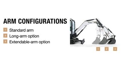 Choose the right arm configuration for your excavator and your jobsite.