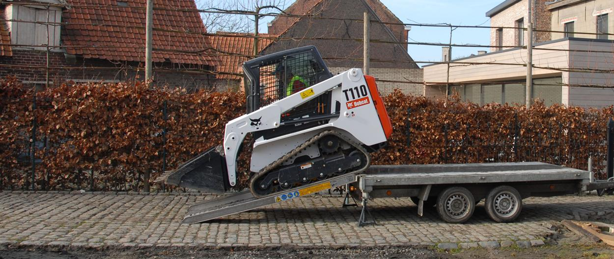 Bobcat T110 compact tracked loader on trailer