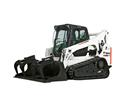 Bobcat T770 compact track loader lifts soil into a high-sided truck.
