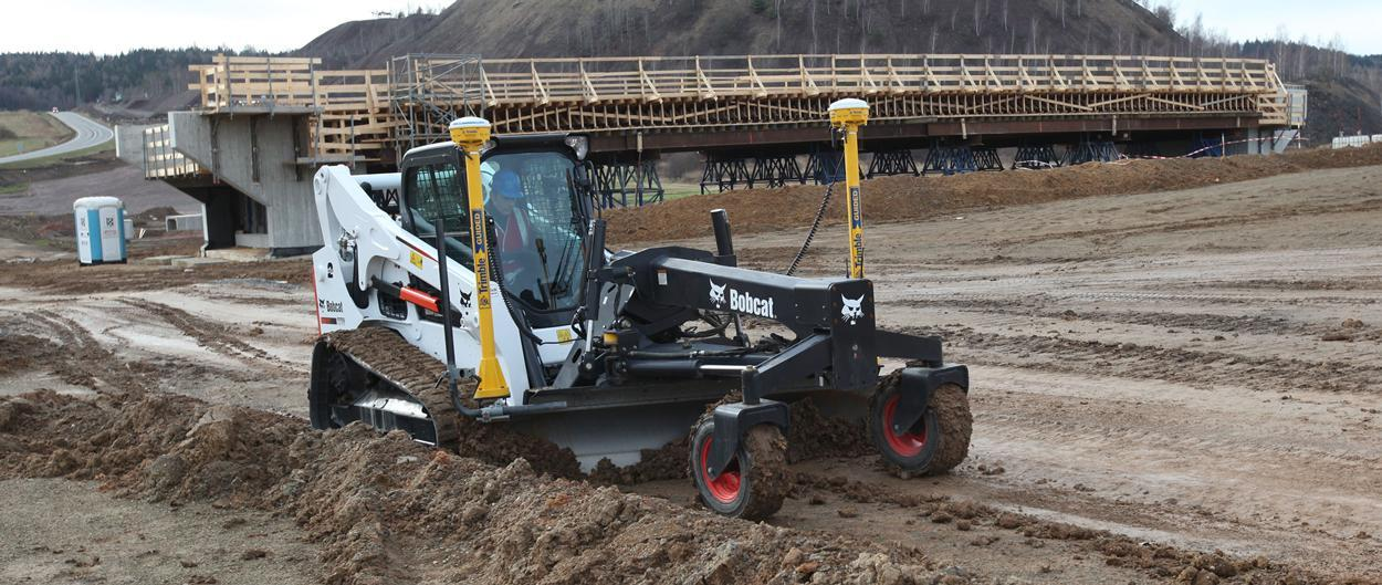 Bobcat T770 compact track loader with laser grader attachment