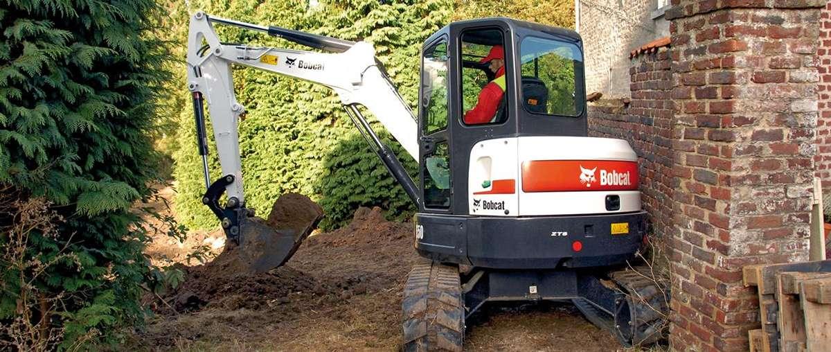 Bobcat E50 compact excavator (mini excavator) with minimal tail swing.