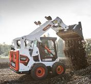 Bobcat compact track loader with vertical lift path.