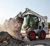 Bobcat skid-steer loader with pressurised cab.