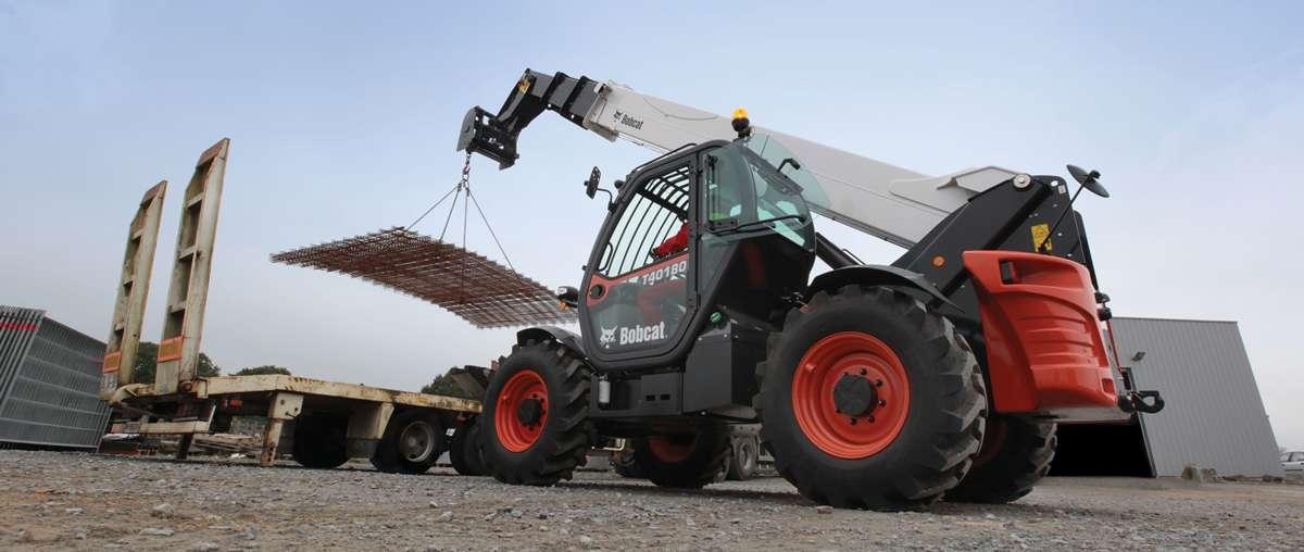 Bobcat Telescopic Handler T40180 with Crane Jib attachment loading a truck