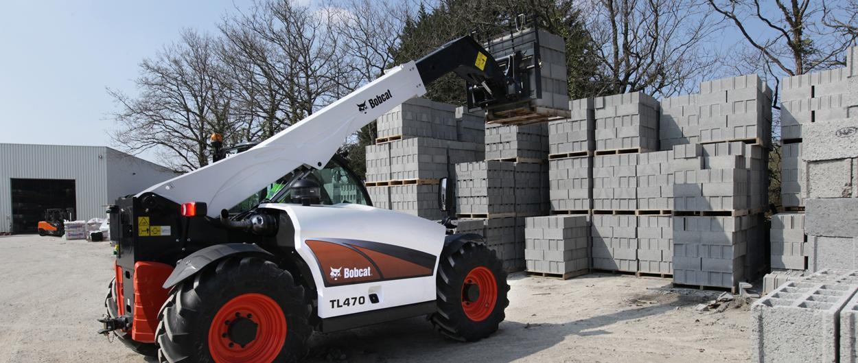 Bobcat Telescopic Loader TL470 with Pallet Fork Attachment in Construction
