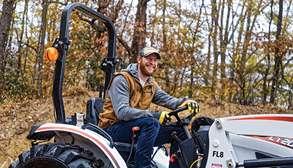 Carson Wentz Driving Bobcat Compact Tractor