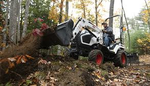 Luke Gessler Uses His Bobcat CT1021 Compact Tractor With Front-End Loader Attachment To Move Dirt In The Woodland Of His Acreage