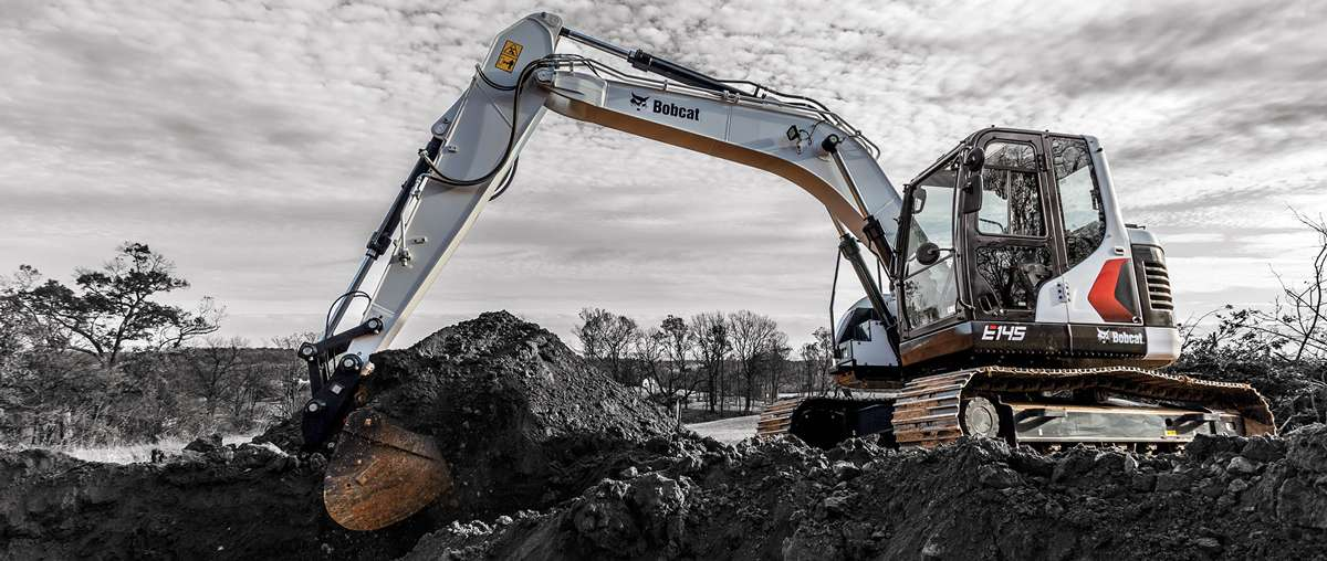 """Bobcat E145 Compact Excavator With Warranty Coverage Moving Earth"""""""