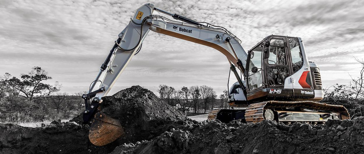 Bobcat E145 Compact Excavator With Warranty Coverage Moving Earth""