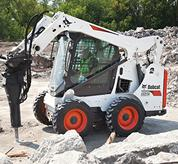Bobcat skid-steer loader with pressurized cab.