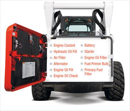 Tier 4 engine servicability on Bobcat compact equipment