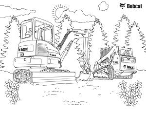 Mini Excavator Coloring Sheet