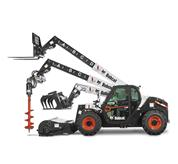 The VersaHANDLER V519 telehandler, the Bob-Tach mounting system and bucket attachment.