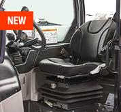 The comfortable operator cab inside the VersaHANDLER V519 telehandler.