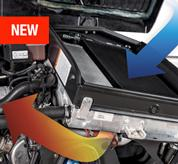 Bobcat VersaHANDLER telehandler engine interior with cooling feature.